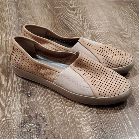 Eileen Fisher suede perforated slip on shoes